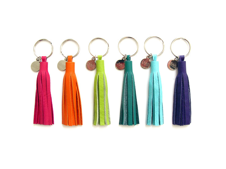 recycled leather tassel key chain