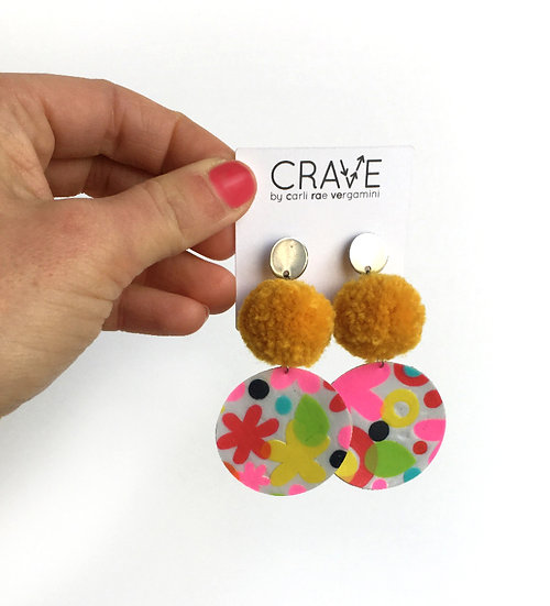 Floral Pool Pom Earrings | Upcycled from a Kiddie Pool