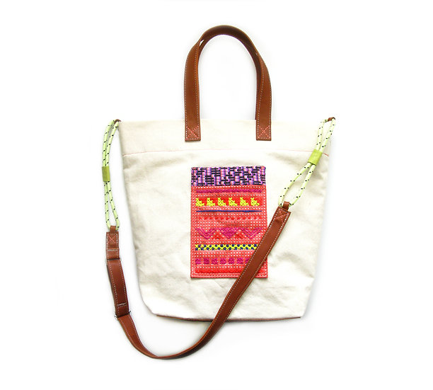 embroidered leather canvas bag