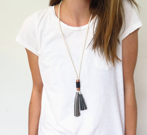 Copper Double Tassel Necklace