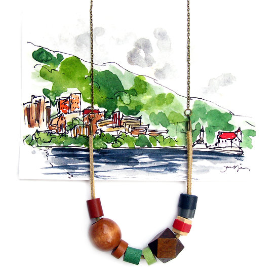 SJ Nielsen Inspired Leather and Wood Bead Necklace