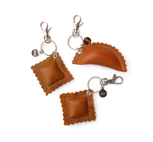 leather pasta purse charm