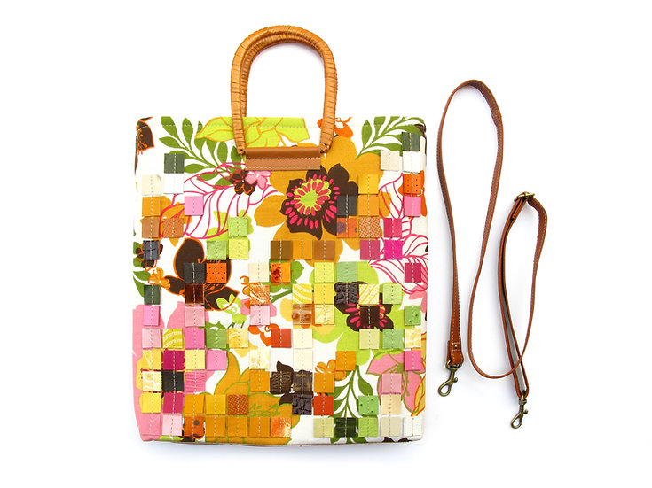 Daphne Leather Mosaic and Canvas Convertible Bag