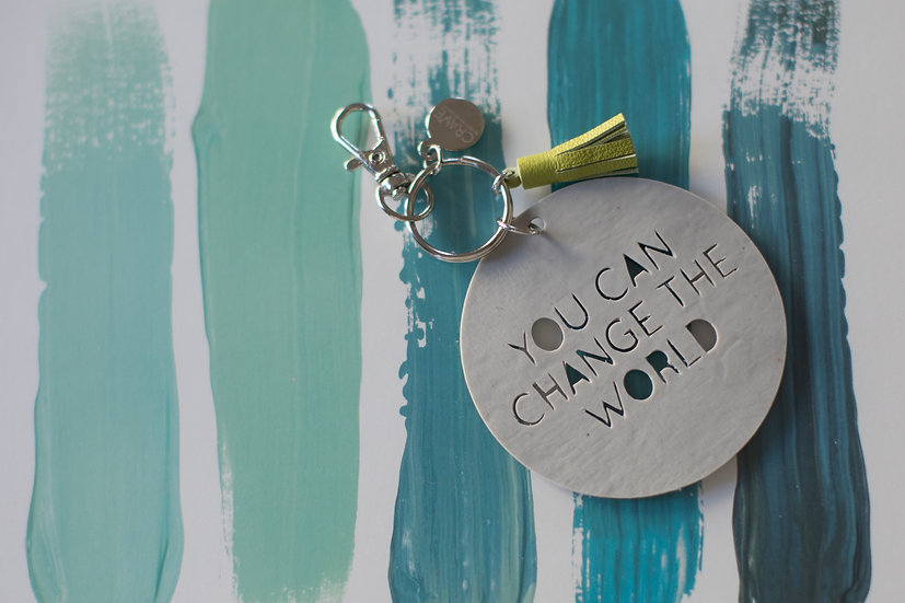 You Can Change The World Keychain Made From Dilapidated Air Mattress