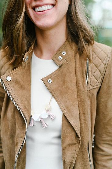 geometric bead tassel necklace