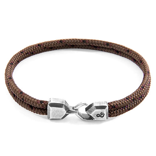 Anchor & Crew - Brown Cromer Silver and Rope Bracelet