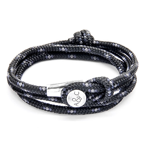 Anchor & Crew - Black Dundee Silver and Rope Bracelet