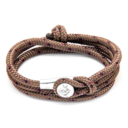 Anchor & Crew - Brown Dundee Silver and Rope Bracelet
