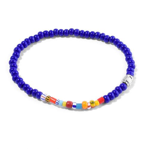 Oskar Gydell - Blue and african seed beads bracelet - Silver