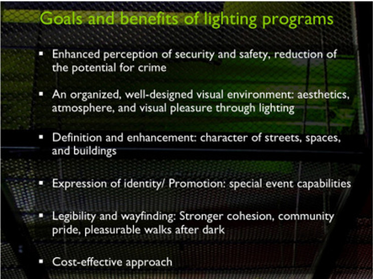 Goals and benefits of city lighting programs and master plans