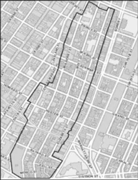 Official map of the Chinatown Little Italy Historic District boundaries