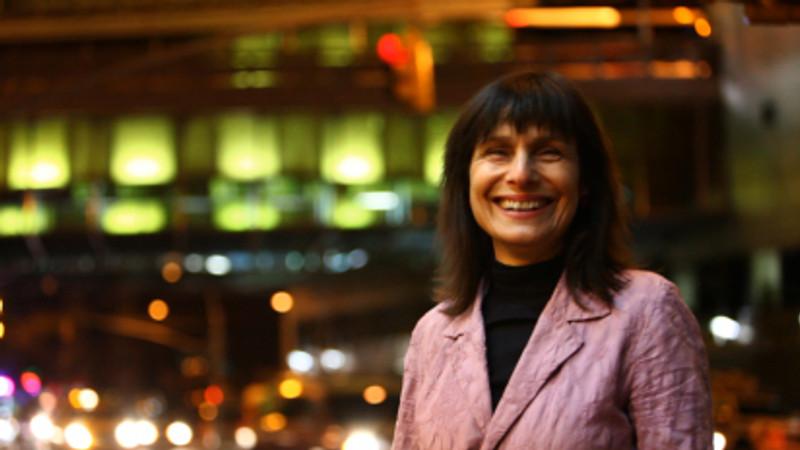 Leni Schwendinger stands by the Triple Bridge Gateway (for Dwell Magazine)