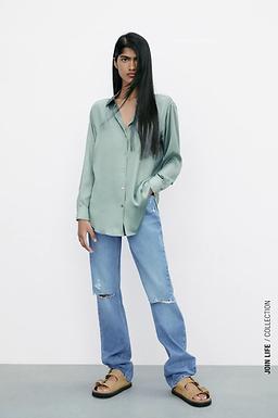Camisa Acetinada da ZARA - Verde água