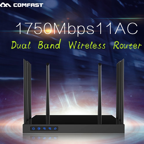 Roteador Openwrt COMFAST 1750Mbps Wi-Fi sem fio 2.4G e 5.8G Gigabit CF-WR650AC
