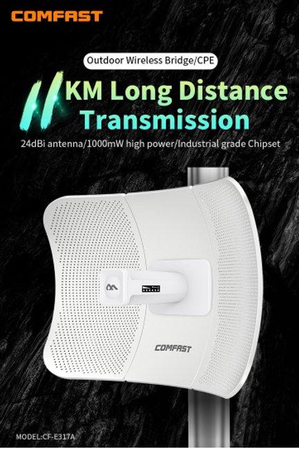 Antena CPE exterior 11KM 5.8G sem fio roteador AP e ponte COMFAST CF-E317A