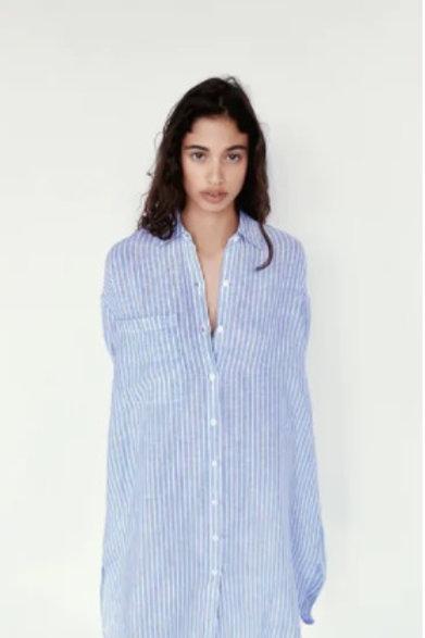 Camisa Comprida de Linho da ZARA - Branco/Azul