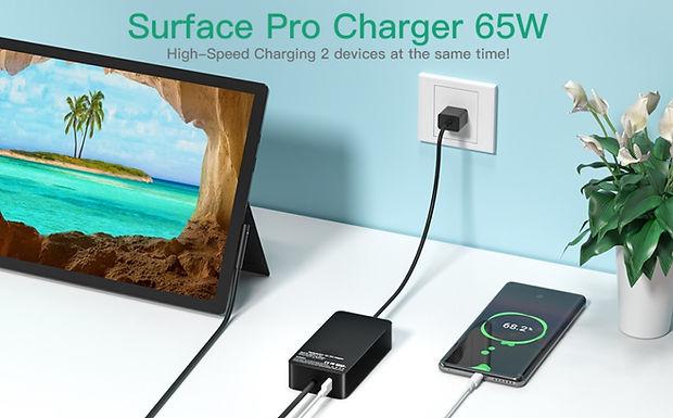 Carregador de laptop de 65 W para Microsoft Surface pro 7/6/5/4/3