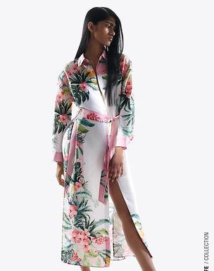 Vestido Camiseiro Tropical  da ZARA - Multicolor