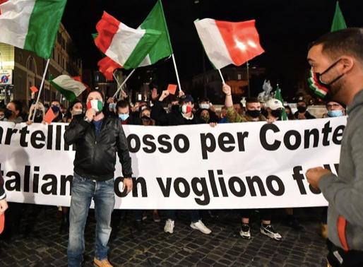 Protestas en Italia por medidas para frenar el covid-19