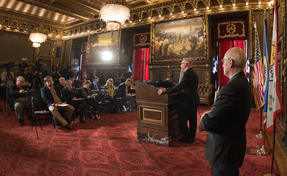 Gov. Tim Walz and MN Budget & Management Commissioner Myron Frans present the Revised Budget for One Minnesota during a news conference at the Capitol.