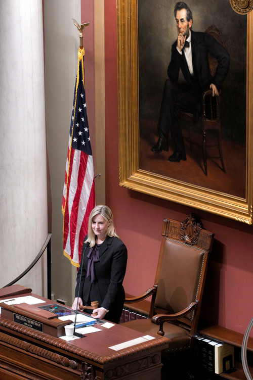 Speaker Melissa Hortman listens as members debate an amendment on the committee structure of the House.
