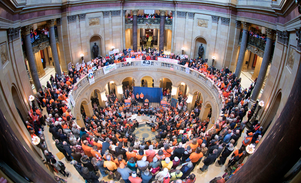 Several hundred concerned citizens filled the Capitol rotunda for the Protect Minnesota rally, Thursday, Feb, 22 . The groups is lobbying to block dangerous gun bills and to advocate for the passage of bills that would reduce gum violence.