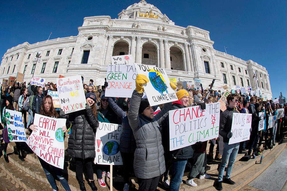 Students filled the steps of the Capitol to protest inaction over climate change.