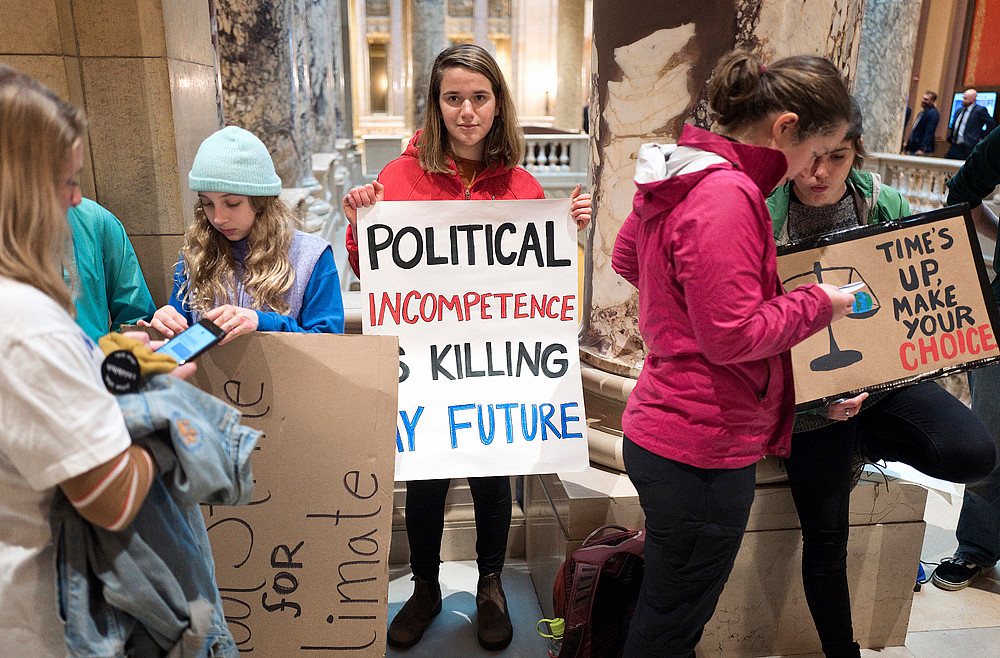 Lia Harel, a senior at Hopkins High School, brought her message to the Capitol for state and national leaders to take action on climate change.