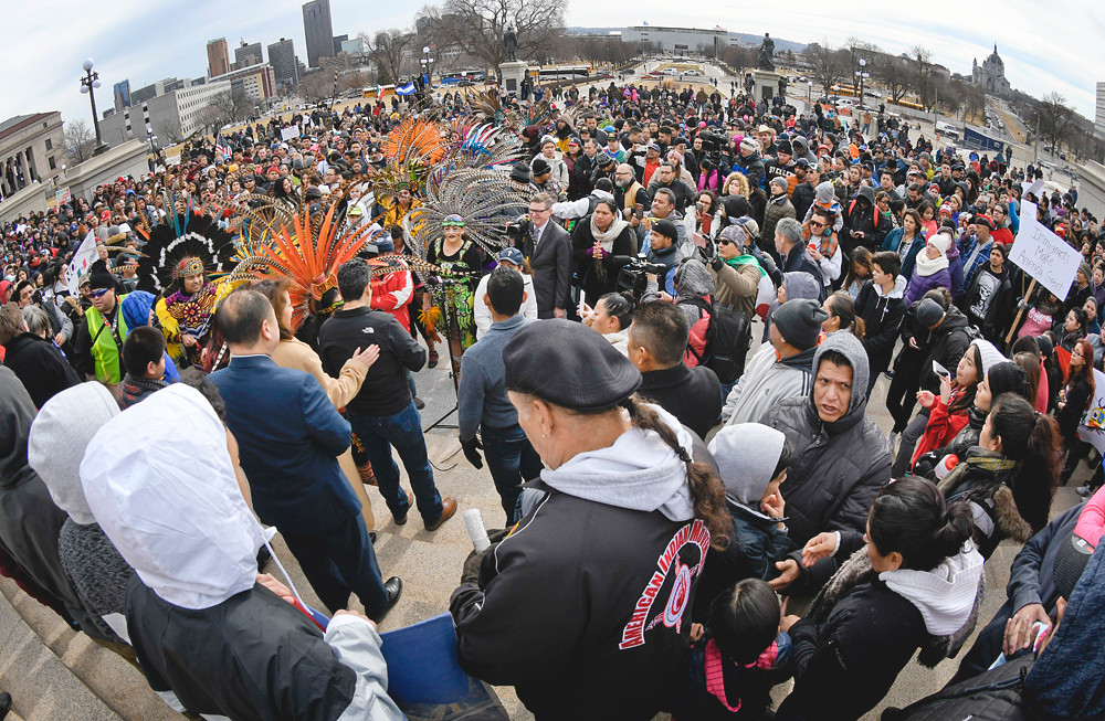 """Participants in the """"Day Without Immigrants"""" rally on the steps of the Capitol."""
