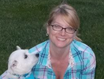 Editor Jennifer Huston and Benny, the eponymous white dog of White Dog Editorial Services