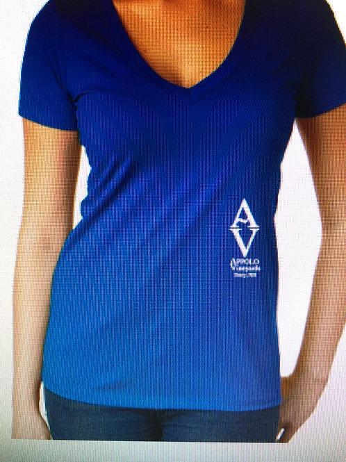 Blue Women's V-Neck Logo Tee
