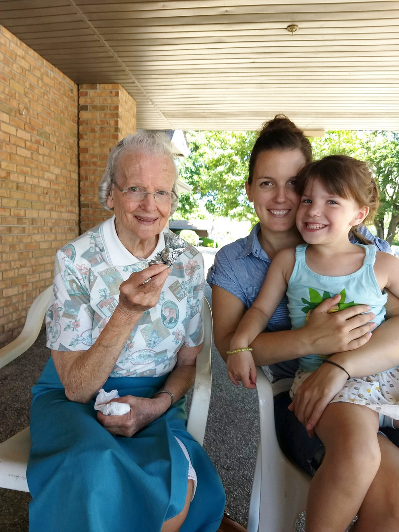 senior with family
