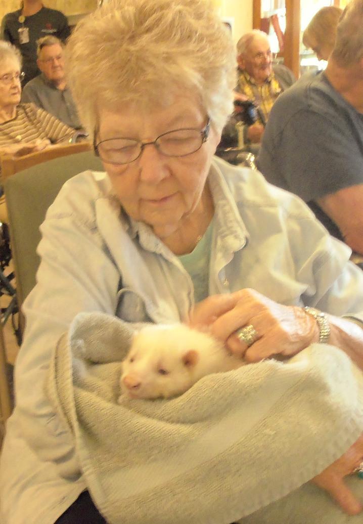 senior holding pet