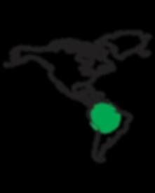 Map de l'Amérique Latine avec point sur la forêt amazonienne pour montrer la provenance de l'huile de grains de Chia utilisé dans la coloration Nabè par Togethair vendu en Suisse par Harrys Professional