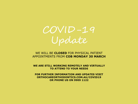 Orthocare Orthodontics announcement in response to COVID-19