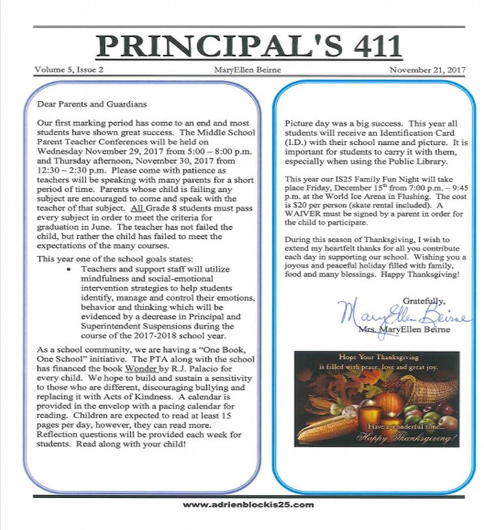 Principal's 411 for November 2017