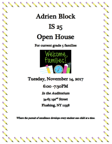 Adrien Block I.S. 25 Open House for Prospective Students (5th Graders)