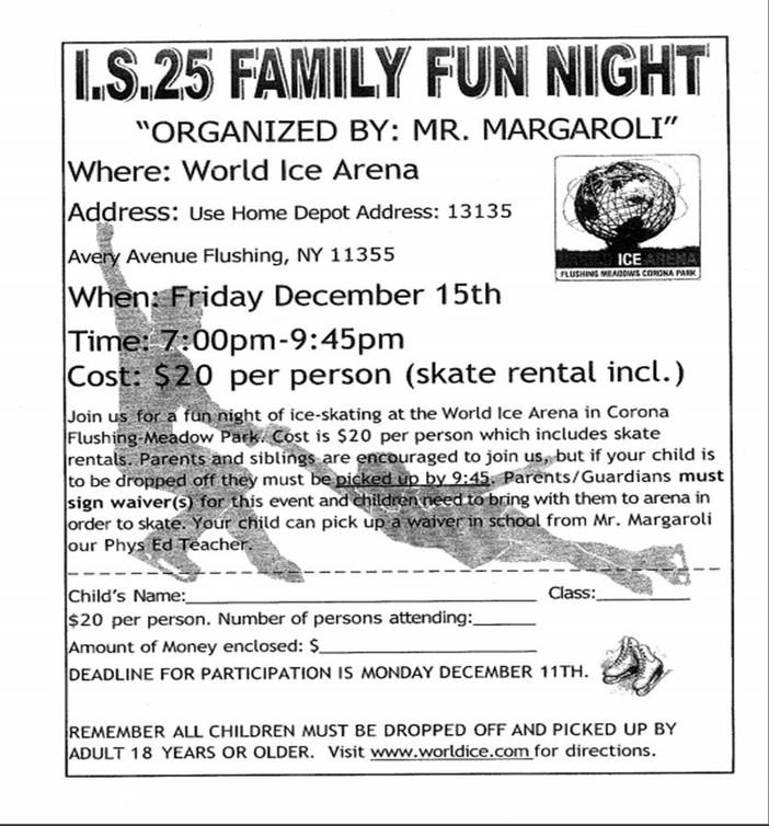 I.S. 25 Family Ice Skating Night