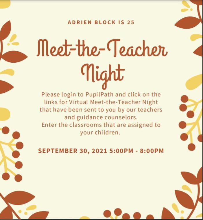 Meet-the-Teacher - September 30th - 5:00 PM - 8:00 PM