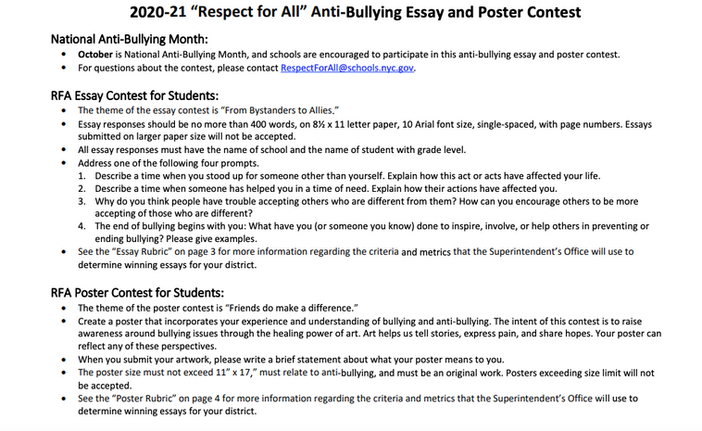 Respect for All Poster and Essay Contest