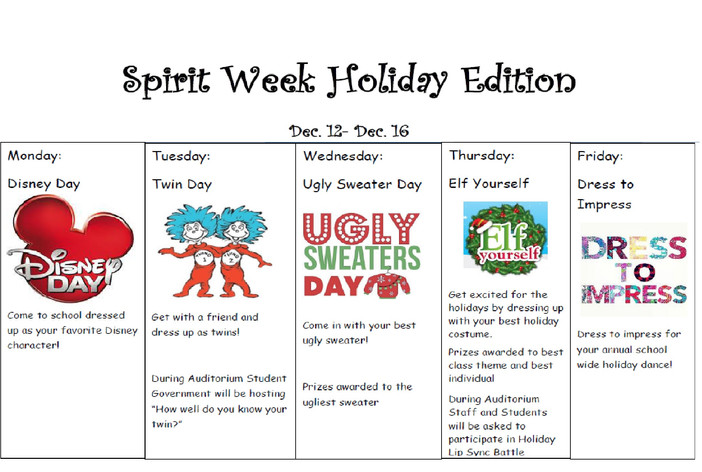 Spirit Week - Holiday Edition (12/12 - 12/16)