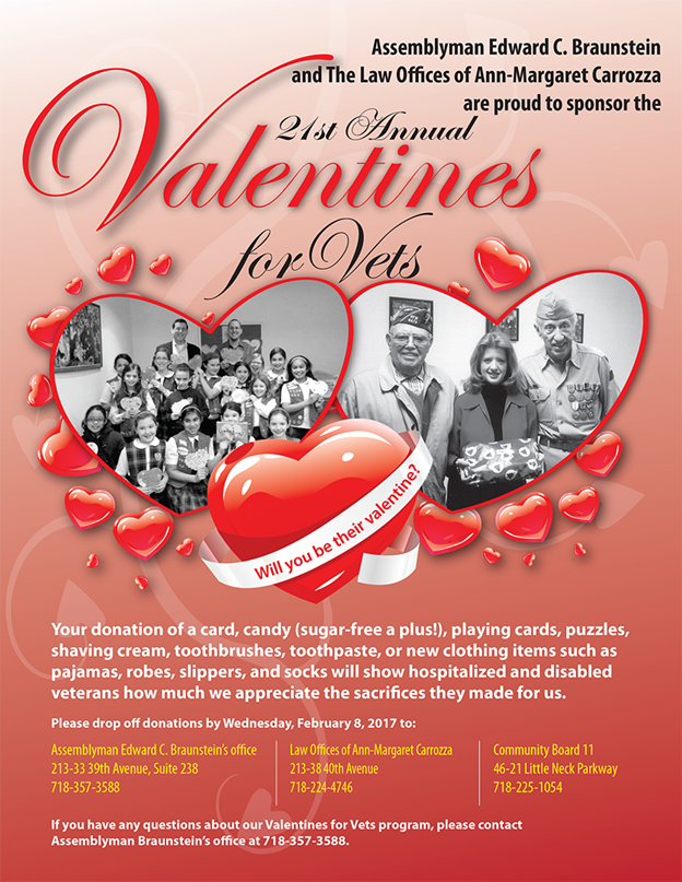Valentines for Vets (donations due by 2/8)
