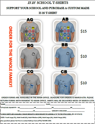 IS 25 School T-Shirts - due by 3/6