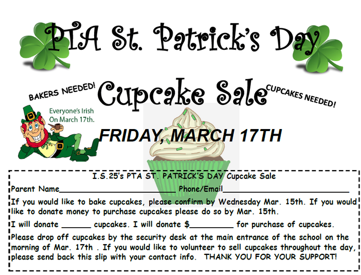 St. Patty's Cupcake Sale 3/17