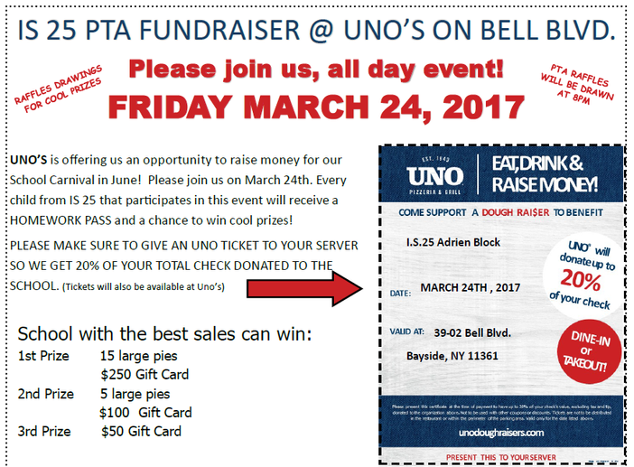 PTA Fundraiser at Uno's 3/24