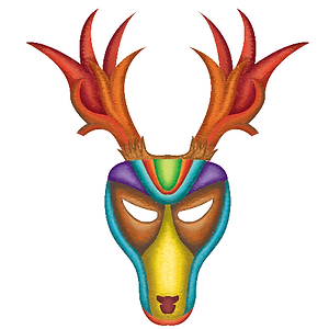 Digital painitng, wine packaging, bulgarian wines, kukeri festival masks, animal masks