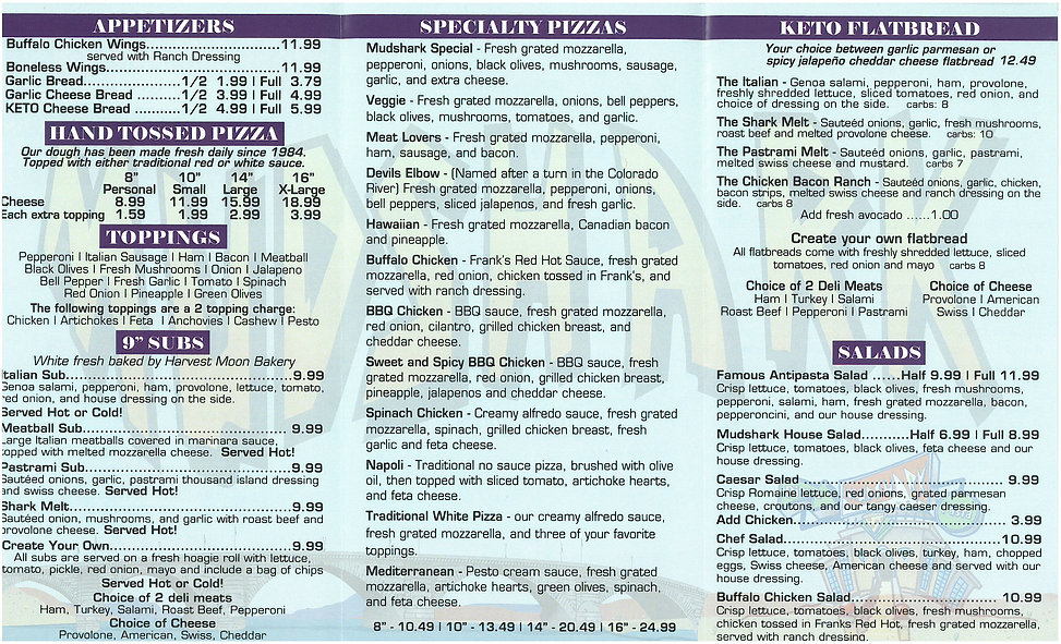 Mudshark Pizza Menu 2
