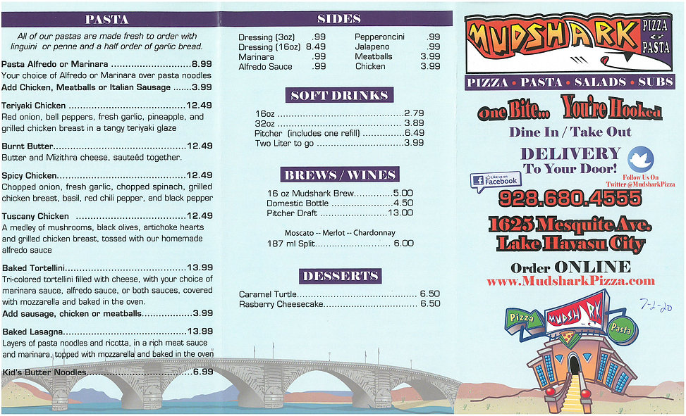 Mudshark Pizza Menu 1