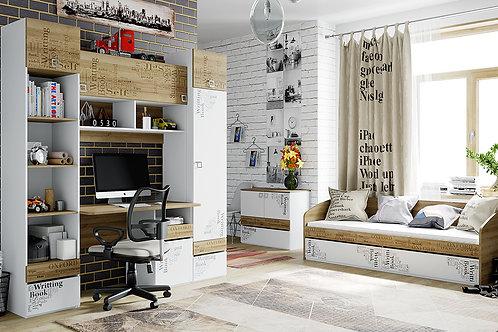 Набор детской мебели «Оксфорд» №3 (Ривьера/Белый с рисунком)