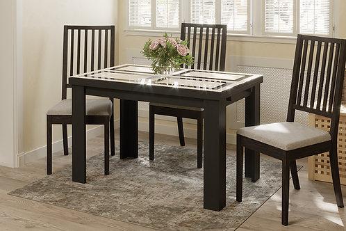 Стол обеденный «Норман» тип 1 (Черный/Стекло бежевое с рисунком)